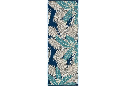 31X87 Outdoor Rug-Palm Beach Aqua/Navy