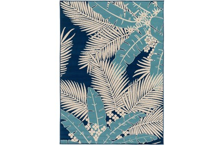 47X63 Outdoor Rug-Palm Beach Aqua/Navy