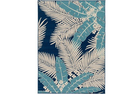 79X114 Outdoor Rug-Palm Beach Aqua/Navy