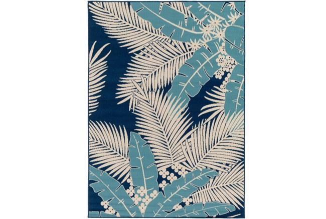 94X123 Outdoor Rug-Palm Beach Aqua/Navy - 360