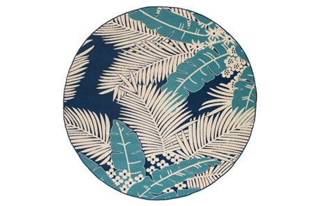 94 Inch Round Outdoor Rug-Palm Beach Aqua/Navy