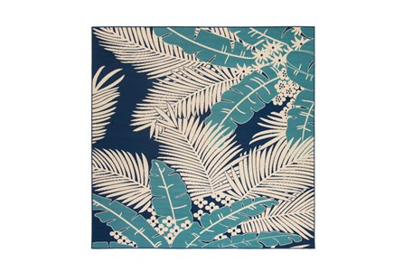 84X84 Square Outdoor Rug-Palm Beach Aqua/Navy