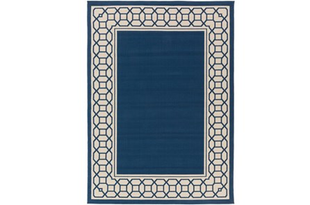63X87 Outdoor Rug-Fretwork Border Navy - Main