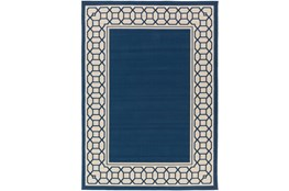 79X114 Outdoor Rug-Fretwork Border Navy
