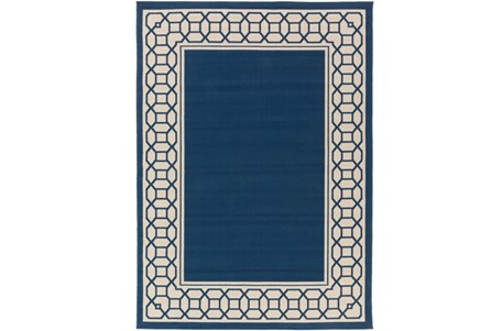 94X123 Outdoor Rug-Fretwork Border Navy