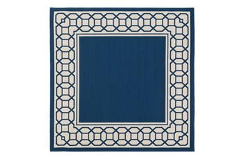 84X84 Square Outdoor Rug-Fretwork Border Navy