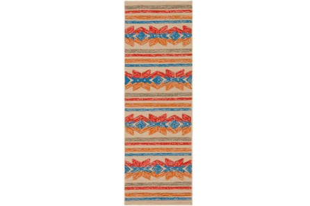 30X96 Outdoor Rug-Yucatan Orange/Blue