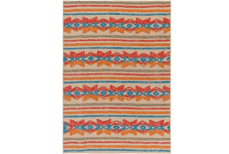 96X120 Outdoor Rug-Yucatan Orange/Blue