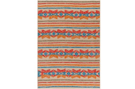 96X120 Outdoor Rug-Yucatan Orange/Blue - Main