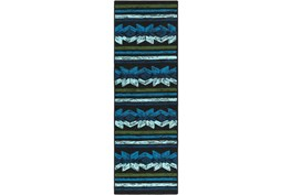 30X96 Outdoor Rug-Yucatan Blue/Black