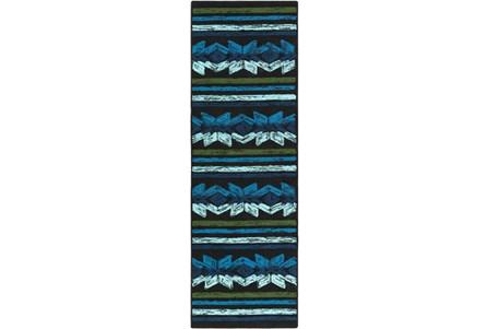 30X96 Outdoor Rug-Yucatan Blue/Black