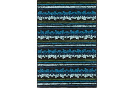 48X72 Outdoor Rug-Yucatan Blue/Black
