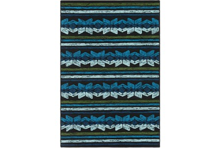 60X90 Outdoor Rug-Yucatan Blue/Black