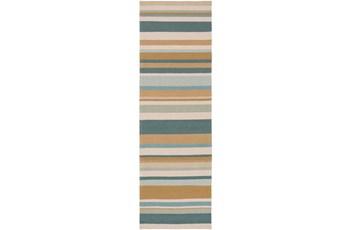 30X96 Outdoor Rug-Montego Stripe Blue/Camel