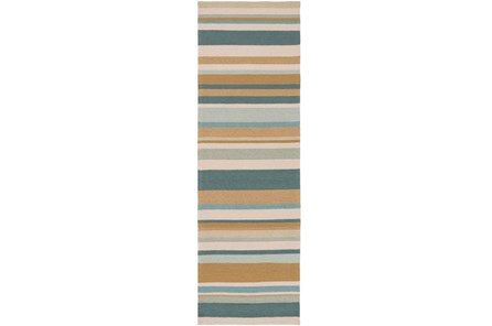30X96 Outdoor Rug-Montego Stripe Blue/Camel