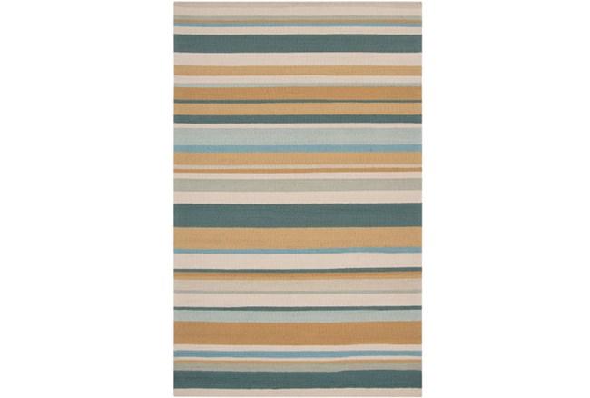 60X96 Outdoor Rug-Montego Stripe Blue/Camel - 360
