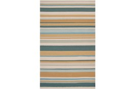 96X120 Outdoor Rug-Montego Stripe Blue/Camel