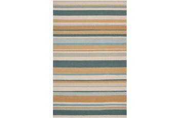 96X120 Outdoor Rug-Montego Stripe Blue/Camel