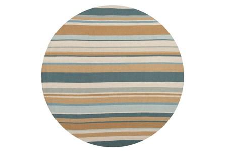 96 Inch Round Outdoor Rug-Montego Stripe Blue/Camel