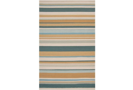 108X144 Outdoor Rug-Montego Stripe Blue/Camel