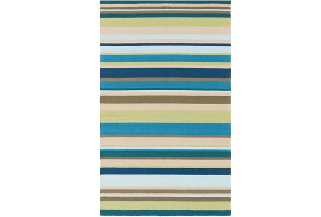 24X36 Outdoor Rug-Montego Stripe Blue/Green - 360
