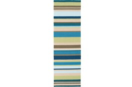 30X96 Outdoor Rug-Montego Stripe Blue/Green