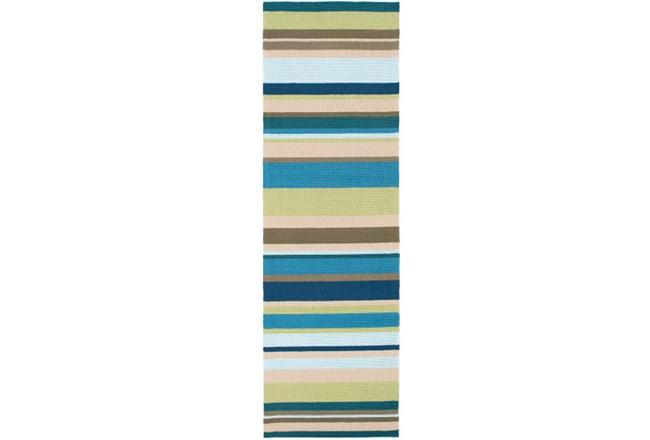 30X96 Outdoor Rug-Montego Stripe Blue/Green - 360