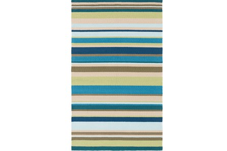 36X60 Outdoor Rug-Montego Stripe Blue/Green