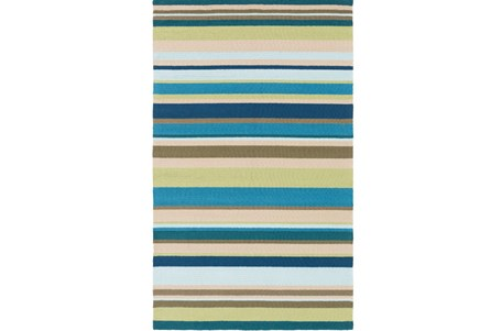 96X120 Outdoor Rug-Montego Stripe Blue/Green