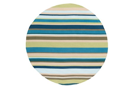 96 Inch Round Outdoor Rug-Montego Stripe Blue/Green - Main