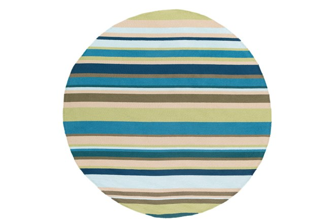 96 Inch Round Outdoor Rug-Montego Stripe Blue/Green - 360