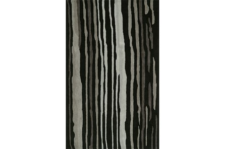 96X120 Rug-Striations Black And Charcoal - Main