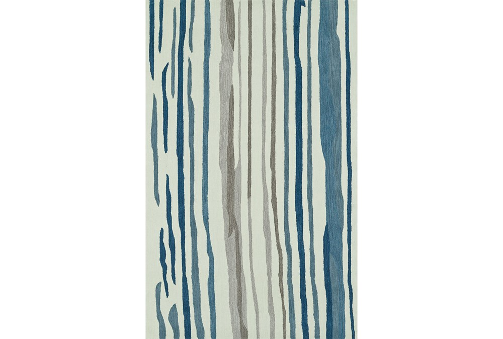 """5'x7'5"""" Rug-Striations Ivory And Blue"""