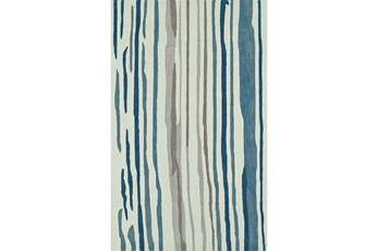 96X120 Rug-Striations Ivory And Blue
