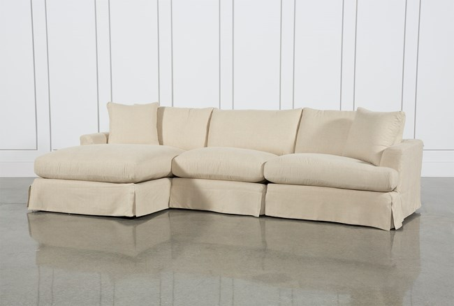 Solano Slipcovered 3 Piece Sectional W/Laf Chaise - 360
