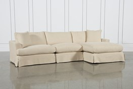 Solano Slipcovered 3 Piece Sectional W/Raf Chaise