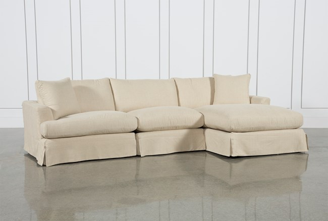 Solano Slipcovered 3 Piece Sectional W/Raf Chaise - 360