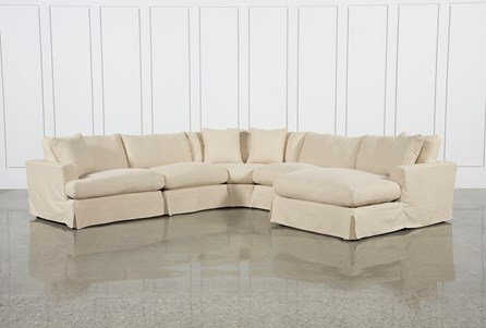 Solano Slipcovered 5 Piece Sectional W/Raf Chaise