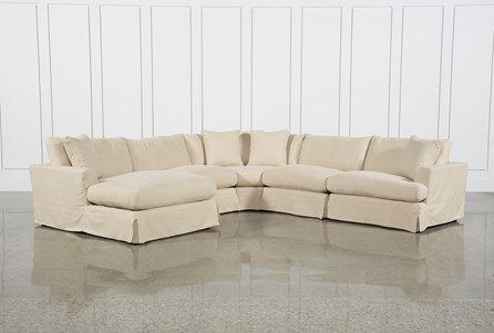 Solano Slipcovered 5 Piece Sectional W/Laf Chaise