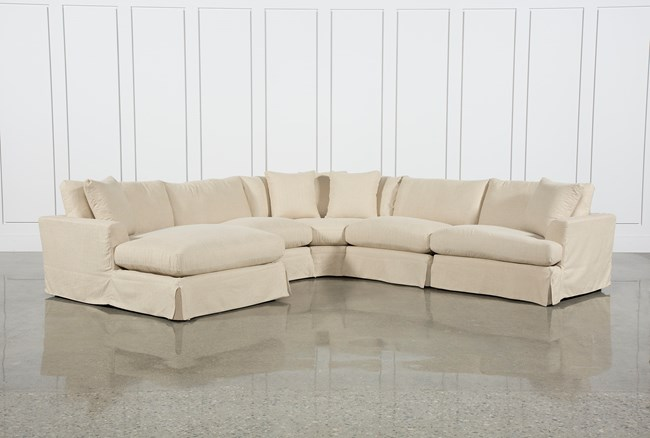Solano Slipcovered 5 Piece Sectional W/Laf Chaise - 360