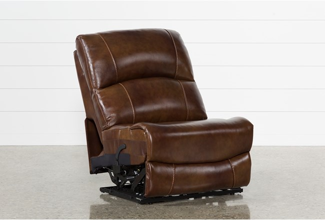 Travis Cognac Leather Armless Power Recliner - 360