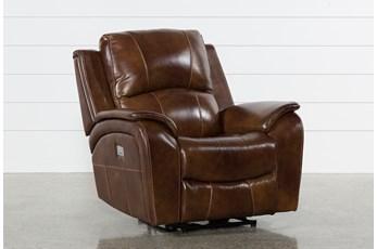 Travis Cognac Leather Power Recliner W/Power Headrest And Usb