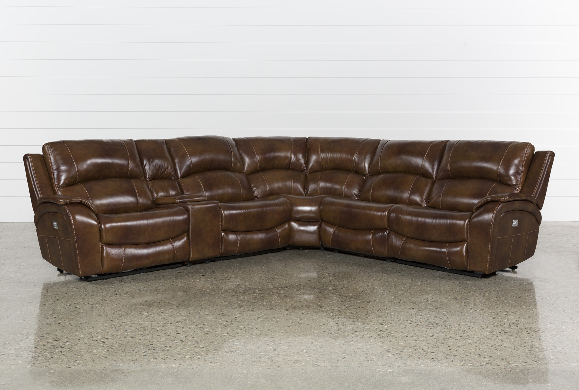 Travis Cognac Leather 6 Piece Power Reclining Sectional With Power Headrest Usb