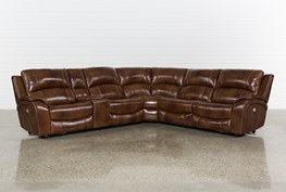 Travis Cognac Leather 6 Piece Power Reclining Sectional W/Pwr Hdrst & Usb