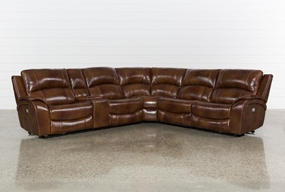 Wondrous Travis Cognac Leather 6 Piece Power Reclining Sectional With Power Headrest Usb Pabps2019 Chair Design Images Pabps2019Com