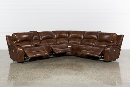 Outstanding Travis Cognac Leather 6 Piece Power Reclining Sectional With Power Headrest Usb Pabps2019 Chair Design Images Pabps2019Com