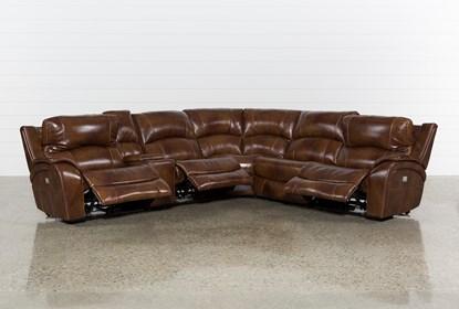 Terrific Travis Cognac Leather 6 Piece Power Reclining Sectional With Power Headrest Usb Alphanode Cool Chair Designs And Ideas Alphanodeonline