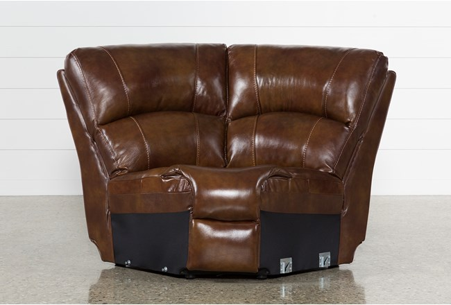 Travis Cognac Leather Corner Wedge - 360