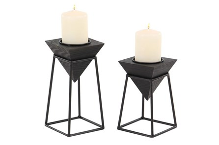 2 Piece Black Candle Holder - Main