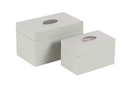 2 Piece Set White Agate Box